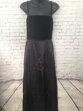 Kay Unger Black Velour Silk Long Evening Gown Dress, Size 6