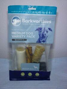 *NEW* Barkworthies MEDIUM DOG VARIETY PACK 5 Natural Protein Rich Dog Chews LOOK
