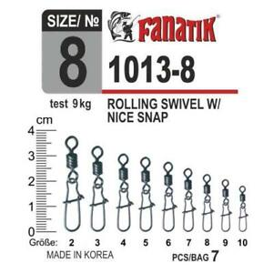FANATIK Fishing Swivel with Duo-Lock Snap 1013 size 10, 9, 8, 7, 6, 5, 4, 3, 2