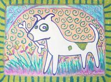 American Pit Bull Terrier Fetch Dog Pop Outsider Art 8 x 10 Giclee Print Ksams