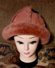 New UGG Bucket Hat Cap Salmon Pink w/ Shearling One Size