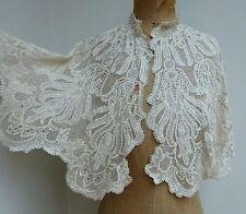 Elegant Antique Ivory Silk Lace Capelet Shawl Wedding Bridal Handmade Collar