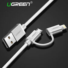 UGREEN Micro USB Cable + Lightning Data Sync Charger Cable For iPhone 6S Android