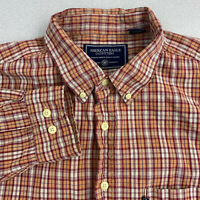 American Eagle Outfitters Button Up Shirt Mens XL Brown Red Plaid Long Sleeve