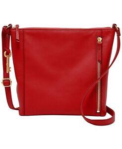 Fossil Tara Leather Crossbody Handbag Brick Red/gold