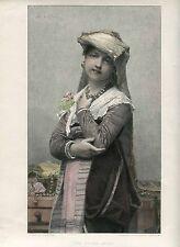 «The young bride» grabado coloreado por Alphonse Lamotte sobre obra de Jules Lef