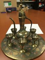 Vintage Islamic Middle Eastern BRASS Pitcher 6 Cups Tray Engraved FREE SHIPPING!