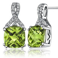 2 Ct Green Peridot 18K White Gold Plated Stud Earring 6mm Gemstone