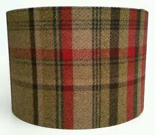 Country Tweed Check Plaid Wool Fabric Lampshade in Elgin Hunter
