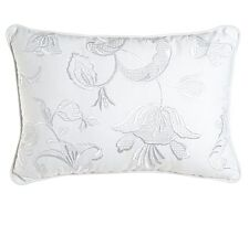 WHITE EMBROIDERED PILLOW : WILLIAMSBURG COTTAGE ELIZA BUTTERFLY FLORAL BED TOSS
