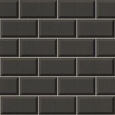 Black Tile Wallpaper 3D Effect Bathroom Kitchen Washable Feature Vinyl Rasch