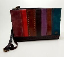 SAK Leather Striped Multi-Color Crossbody Bag Brown Gold Studs