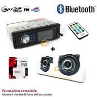 AUTORADIO STEREO BLUETOOTH USB SD AUX + COPPIA CASSE 10CM 250W + PEN DRIVE 8GB