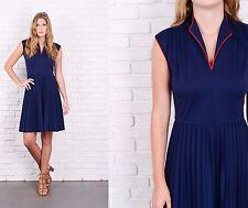 Vintage 70s Navy Blue Mod Dress Accordion Pleated A Line Red Stripe Medium M