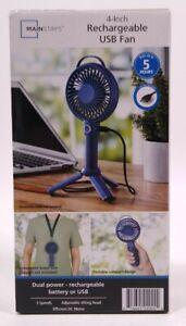 Personal Fan USB 4 Inch Mini Rechargeable Tripod Blue Mainstays New In Box