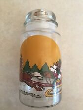 """Disney Mickey Mouse Christmas Glass Canister Jar w/Lid Sleigh Ride 8.5""""Tall"""