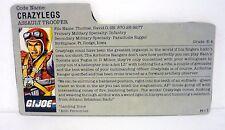 VINTAGE CRAZYLEGS FILE CARD G.I. Joe Action Figure GREAT SHAPE 1987