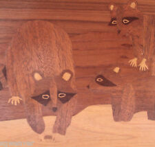 "Raccoons Inlayed Multi-Wood Marquetry Handmade Art Plaque Wall Panel 18""  X 12"""