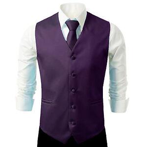 New Men Formal Casual Tuxedo Suit Dress Vest Waistcoat & Neck tie Wedding Prom