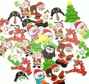 30 CHRISTMAS BUTTONS EMBELLISHMENTS MIX - CRAFT - CARDMAKING - CARD TOPPERS