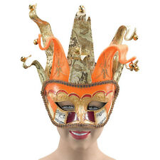 VENETIAN JESTER JOKER ORANGE GOLD EYE MASK MASQUERADE FANCY DRESS