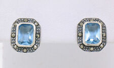 Marcasite Sterling Silver Square Blue Topaz Bezel Simple Studs Stud Earring