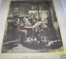 Vintage Art Original Print THE RUBBER PUT TO HIS TRUMPS