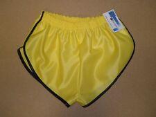 Nailon Satén Sprinter Pantalones Cortos Amarillo Ribete Negro, Pequeña a XXXXL