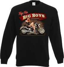 Sweatshirt schwarz HD VTwin Pin Up Biker Chopper&Old Schoolmotiv Modell Big Boys