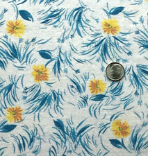 """Vintage Cotton Full Feed Sack Small Yellow Floral w?Aqua Accents 43"""" x 36"""""""