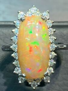 NATURAL FIRE OPAL 18X10 MOLSSANITE DIAMOND 24PC. STERLING SILVER925 RING