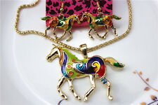 Betsey Johnson Fashion jewelry sets Enamel Horse pendant earrings necklaces Y805