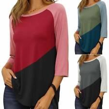 Women's 3/4 Sleeve Crew Neck Tee Shirt Ladies Colourblock Blouse Tops Plus Size