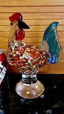 LOOKING BACK Glass Rooster Figurine Paperweight Murano HEAVY & GORGEOUS!
