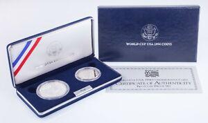 1994 World Cup Commemorative Silver Dollar and Clad Half Dollar w/ Box and CoA