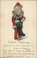 Christmas - Child Dressed Up Like Santa Claus w/ Stocking c1915 Postcard