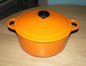 Le Creuset Volcanic Orange Cast Iron Round Casserole  -  22 cm