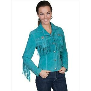 Scully L152-123-L Ladies Fringe & Beaded Leather Jacket - Turquoise Large