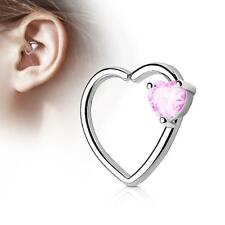 Silver 16 Gauge Heart  Ear Cartilage/Daith Hoop Ring with Pink Heart Set CZ