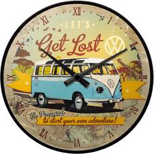 Nostalgic Art Wall Clock Volkswagen Camper Van Let's Get Lost