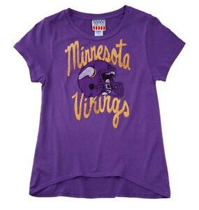 Minnesota Vikings NFL Hi-Lo Girls Junk Food Glitter Shirt Size XL-14
