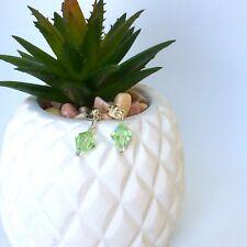Ella Drop Earrings - Genuine Swarovski Crystals - Chrysolite - Green