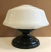 Vintage Art Deco Salvaged Schoolhouse Flush Ceiling Light Fixture Milk Glass