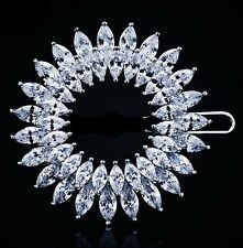 USA Hair Clip use Swarovski Crystal Hairpin Bridal Wedding Silver Sunflower CZ 7