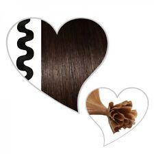 25 ondulé mèches brun foncé #02, 55 cm, Cheveux véritables, marron extensions