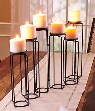 Metal Pillar Candle Holder Hinged 6-Candle Runner Adjustable Stand