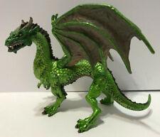 "2010 Safari Ltd Green Forest Dragon w Wings Medieval Fantasy Beast 6"" PVC Figure"