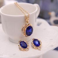 EG_ Women Hollow Rhinestone Pendant Necklace Ear Stud Earrings Jewelry Set Eyefu