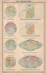 1931 PRINT ~ MAP PROJECTIONS ~ MERCATORS GALL'S SANSON-SLAMSTEEDS GLOBULAR