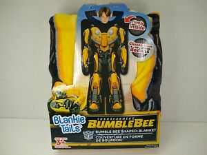 """Blankie Tails Transformers Bumble Bee Shaped Blanket 22""""x60"""" Ages 3+ Super Soft"""